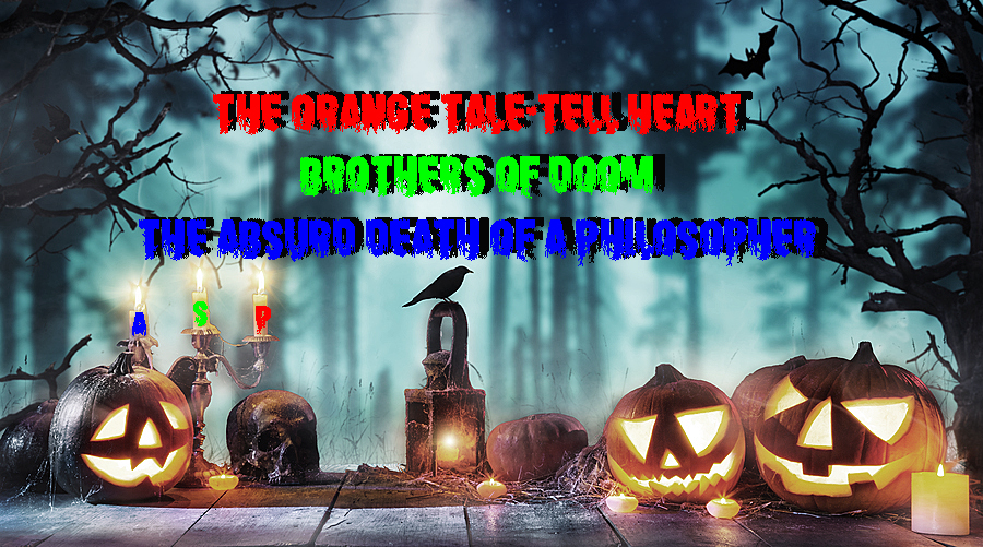 Scary horror background with halloween pumpkins jack o lantern,